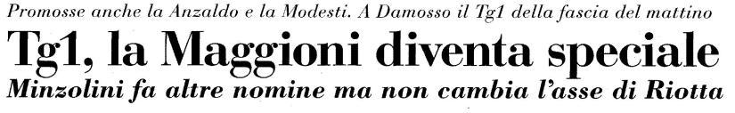 Italia Oggi: Tg1, la Maggioni diventa speciale