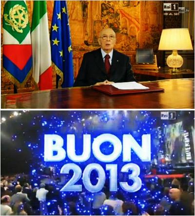 L'ultimo messaggio di Napolitano e lo show L'anno che verrà i più visti del 31 dicembre 2012