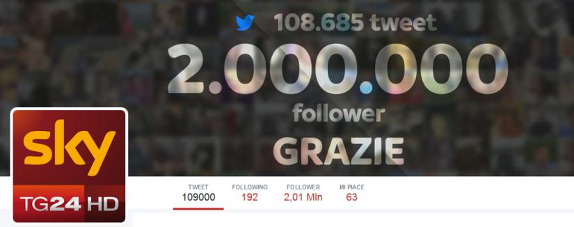 SkyTG24 2 milioni di follower twitter