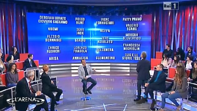 Carlo Conti ha annunciato a L'Arena di Giletti i nomi dei 20 Campioni in gara a Sanremo 2016